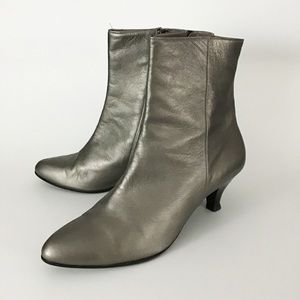 Italian Leather Silver Mod Ankle Boots